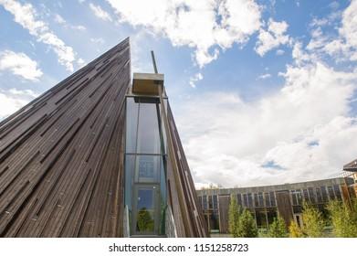 KARASJOK, FINNMARK, NORWAY - JUNE 18, 2017:  view of the Sami Parliament of Norway Building in Karasjok