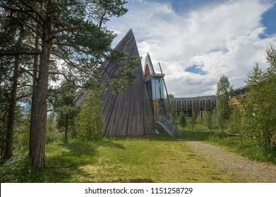 KARASJOK, FINNMARK, NORWAY - JUNE 18, 2017:  the seat of  Sami Parliament of Norway Buildings in Karasjok
