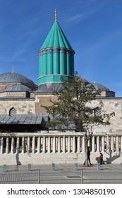 Karatay, Konya / Turkey - February 2, 2019: Mevlana Tomb and Mosque in Konya City