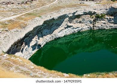 Karatay, Konya / Turkey - July 30, 2019: Obruk Lake in Obruk village of Konya.
