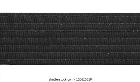Karate black belt closeup isolated on white background