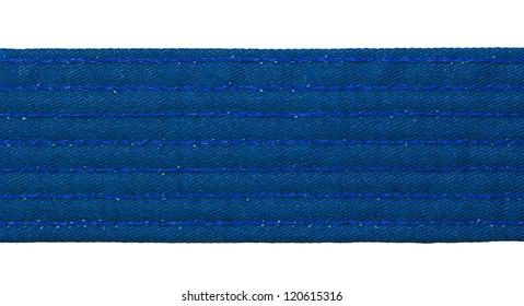 Karate blue belt closeup isolated on white background