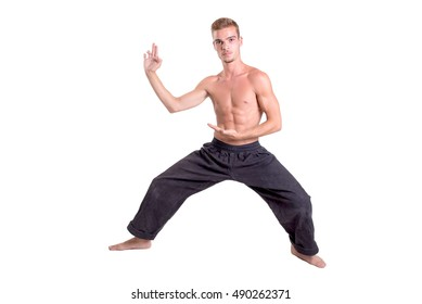 karate fighter posing isolated in white