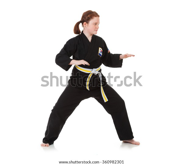 Karate Girl Stands Defensive Stance Stock Photo (Edit Now