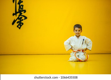 A karate kid in rest position. With the word kyokushinkai on the background. Which means: the last truth associated.