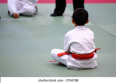The karate kids waiting for the competition