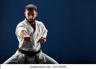 Karate man in a kimono in fighting stance on a blue background