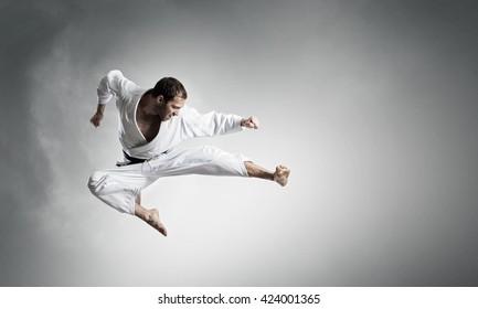 Karate man training