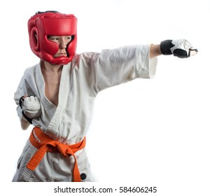 Karate, martial arts, a young guy blows, martial arts