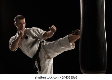 Karate round kick in a punching bag