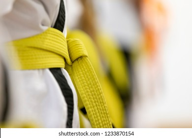 Karate Student Close Up of Gold or Yellow Belt with Shallow Depth of Field
