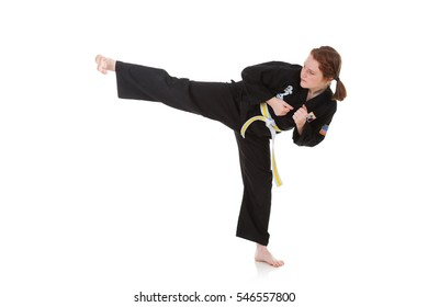 Karate: Tough Girl Does Side Kick