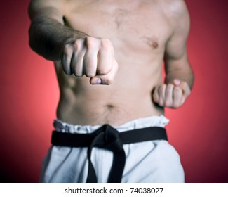 Karate training, man at gym, sport and fitness concept