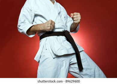 Karate training, sport and fitness at gym