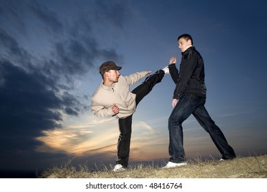 karate training in sunset
