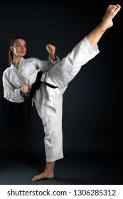 Karate woman in action