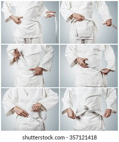 Karateka belt tying step by step pictures