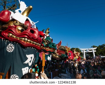 Karatsu city Saga JAPAN - November 3 2018: autumn festival with people pull a float around through the streets in the city. Floats are ready to start to parade. It is Karatsu Kunchi. From November 2 t
