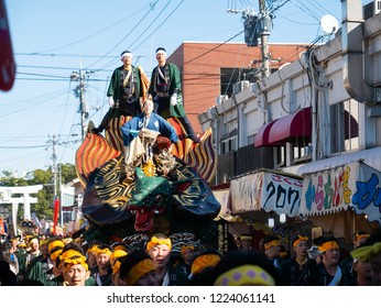 Karatsu city Saga JAPAN - November 3 2018: Autumn festival with people pull floats around through streets in city.  Float shape is imaginary turtle. It is Karatsu Kunchi. From November 2 to 4.
