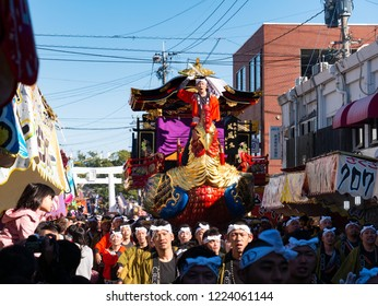Karatsu city Saga JAPAN - November 3 2018: Autumn festival with people pull floats around through streets in city.  Float shape is imaginary phoenix. It is Karatsu Kunchi. From November 2 to 4.