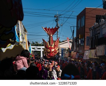 Karatsu city Saga JAPAN - November 3 2018: Autumn festival with people pull floats around through streets in city.  Float shape is Flying dragon. It is Karatsu Kunchi. From November 2 to 4.