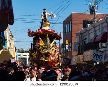 Karatsu city Saga JAPAN - November 3 2018: Autumn festival with people pull floats around through streets in city.  Float shape is dragon ship. It is Karatsu Kunchi. From November 2 to 4.