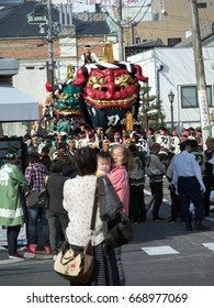 Karatsu city, Saga, JAPAN, November 4 2016: The autumn festival with people pull a float around through the streets in the city. This is Karatsu Kunchi. The festival held from November 2 to 4.