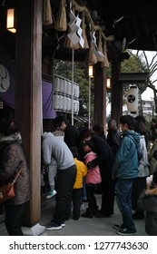 Karatsu, Japan - january 1 2019 : crowded People waiting in line to pray at Karatsu Shrine for the new year