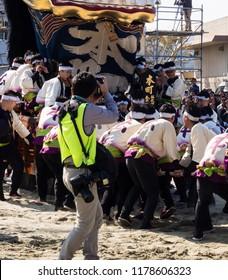 Karatsu, Japan - November 3, 2016: Photographer taking photos during Karatsu Kunchi festival