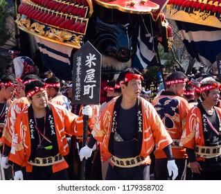 Karatsu, Japan - November 3, 2016: Japanese men in colorful traditional clothes at Karatsu Kunchi festival