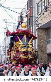 KARATSU, JAPAN. NOVEMBER 3 2017. the massive float representing the boat of seven treasures is drawn through the streets during annual Karatsu Kunchi traditional festival.