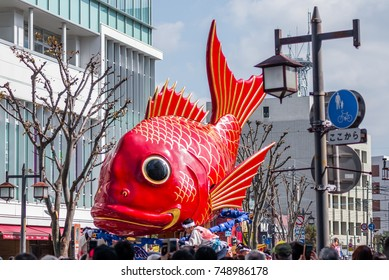 KARATSU, JAPAN. NOVEMBER 3 2017. the massive float representing a sea bream is drawn through the streets during annual Karatsu Kunchi traditional festival.