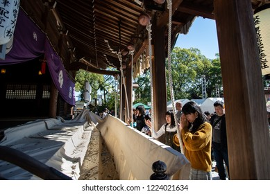 "Karatsu, Japan - november 3, 2018 : people praying at Karatsu shinto shrine during ""Kunchi"" Karatsu annual festival"