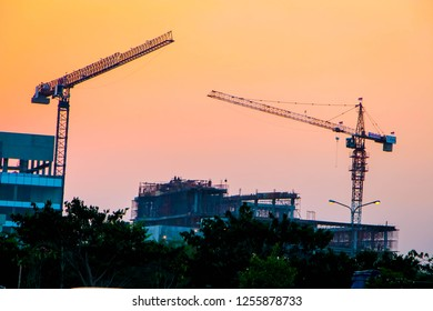 Karawang, West Java/Indonesia - 15th 08 2015: A Crane on Work in a Construction Site