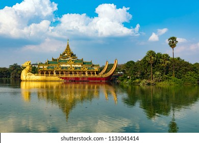Karaweik Hall, a palace on the eastern shore of Kandawgyi Lake, Yangon, Burma