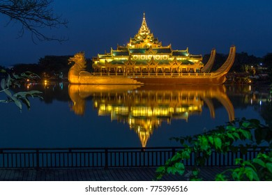 The Karaweik is a replica of a Burmese Royal Barge on Kandawgyi Lake in Yangon in Myanmar. Although a national landmark it now houses a restaurant.