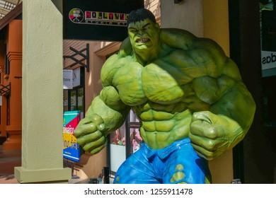 Karb Farang, Chiangmai, Thailand. December 12, 2018. Marvel super hero, Hulk face close up. This Hulk statue is at the premium outlet shopping mall.