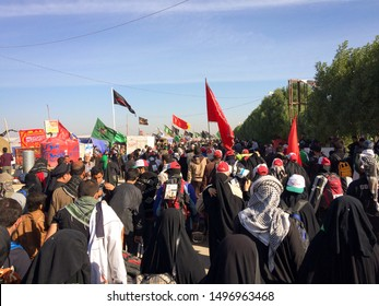 Karbala, Bagdad, Iraq, 06 09 2019:  Millions of Shia marching across the world to Karbala for arbaeen .  A great global gathering in Iraq.