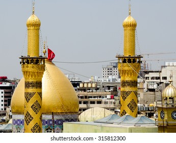 Karbala, Iraq   May 30 2014: The shrine of Imam Abbas in Karbala, Iraq