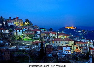 KARDITSA, THESSALY, GREECE - January 14, 2015. Partial view of Kanalia village . In the background Fanari village and its byzantine castle.