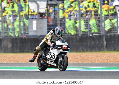 Karel Abraham of Czech Rep. and Angel Nieto Team  in action during The PTT Thailand Grand Prix - MotoGP at Chang International Circuit on October 7, 2018 in Burirum ,Thailand