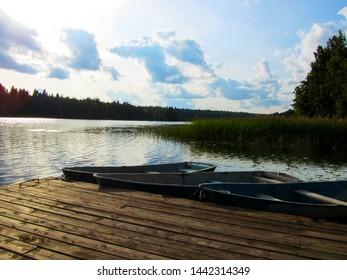 Karelia. Lake Lyubovskoye. Boat station