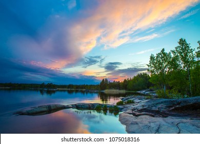 Karelia. Morning in the wild. Nature of Russia. A stony shore against a beautiful sky. The Republic of Karelia Russia.
