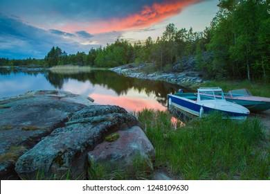 Karelia. Nature of Karelia. Russia. Ladoga lake. Boat off the coast. Northern nature. Islands on Lake Ladoga. The nature of Russia. Republic of Karelia.
