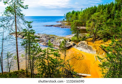 Karelia pine forest lake sand beach landscape. Forest lake sand beach view. Karelia forest lake beach panorama