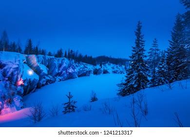 Karelia. Ruskeala. Marble Canyon Karelia in the winter. Snow covered forest. Northern nature. Republic of Karelia.