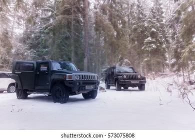 Karelia, Russia - February 04, 2017 . Hummer H3 off-road, the Hummer H3 is a compact SUV produced by GM