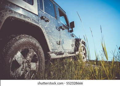 Karelia, Russia, July 15, 2014, off-road expedition in Karelia, the Jeep Wrangler is a compact four wheel drive off road and sport utility vehicle