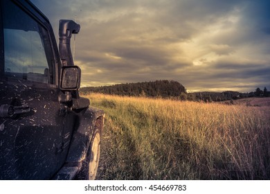 Karelia, Russia , July 17, 2016 , the journey by Jeep Wrangler in North Karelia, the Jeep Wrangler is a compact four wheel drive off road and sport utility vehicle
