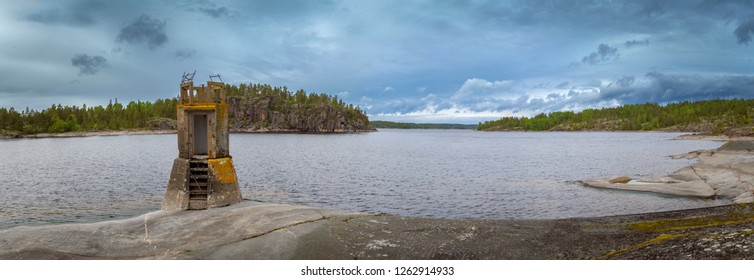 Karelia. Russia. Nature of Karelia. Ladoga lake. Panorama of Lake Ladoga. Islands. Old lighthouse. Skerries The nature of Russia.